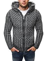 Pull OZONEE hombres Pull-Jersey de punto Chaqueta tricotée JEEL 4800