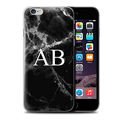 Personalised Marble Case for Apple iPhone 6S+/Plus / Jade Black Monogram Design / Name/Initial Custom DIY Cover
