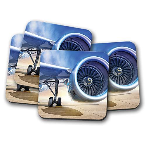 4er-Set - Jet Engine Untersetzer - Turbine Flugzeug Ingenieur Pilot Geschenk #16476 (Jet-engine-flugzeug)