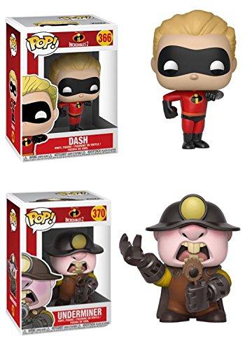 FunkoPOP Incredibles 2 Dash Underminer Stylized Disney Pixar Vinyl 2 Figure Bundle Set NEW