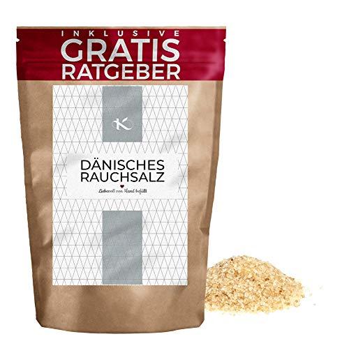 Dänisches Rauchsalz 250g | grobes Meersalz mit Rauchnote aus Dänemark inkl. gratis Ratgeber | kaltgeräuchert | naturbelassenes Natursalz für die Mühle