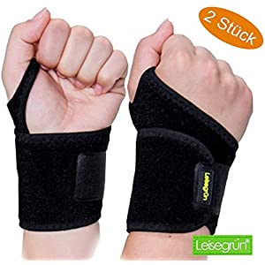Handgelenkbandage [2er Set] mit Klettverschluss. Sport Handgelenkschoner für Fitness, Krafttraining, Bodybuilding. Handgelenkbandagen auch bei Sehnenscheidenentzündung, für Damen und Herren, schwarz