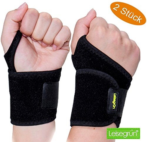 Sport Handgelenkbandage [2er Set] mit Klettverschluss. Handgelenkschoner für Fitness, Krafttraining, Bodybuilding, geeignet für Damen und Herren, Links und rechts, schwarz