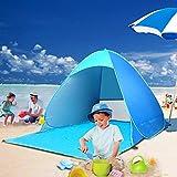 TopDirect Abris de Plage, Anti-UV Tente de Plage, Pop-up Automatique Montage Tente Instantanée Portable, en Plein air Parasol de Plage pour Camping Plage Pêche Jardin (UPF 50+)