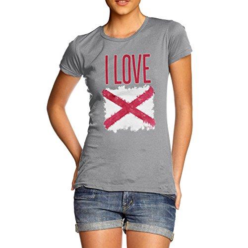 Damen I Love Northern Ireland St Patrick's Saltire T-Shirt Grau