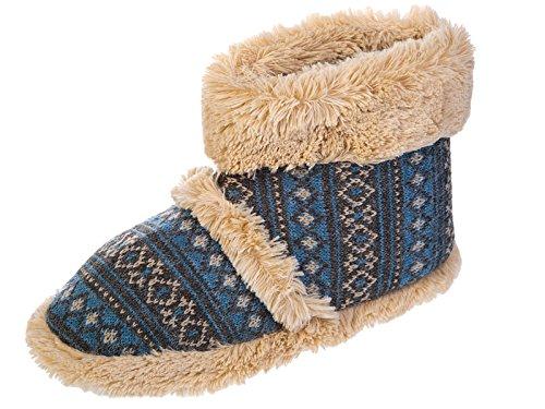 Men's refroidisseurs des garnitures de fourrure tricoté bottes doublure chaude Fourrure Chaussons tailles 7 -12 Bleu
