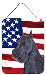 Carolines Treasures SS4007DS1216 Usa American Flag with Schnauzer Aluminium Metal Wall or Door Hanging Prints, 16 x 12, Multicolor