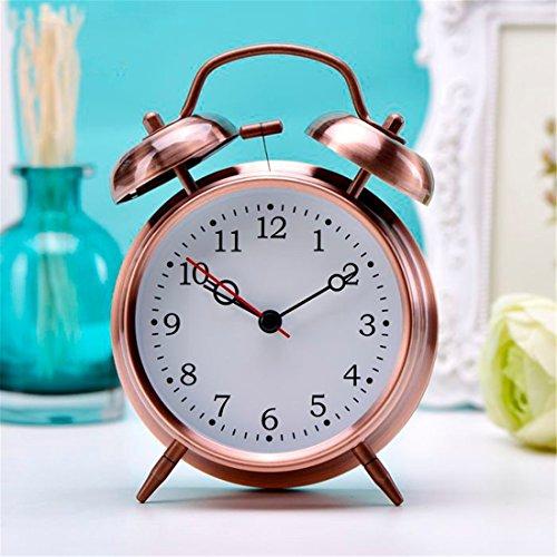 LLSJZ Silencio de metal simple europeo despertador, bronce 4-pulgadas tiempo