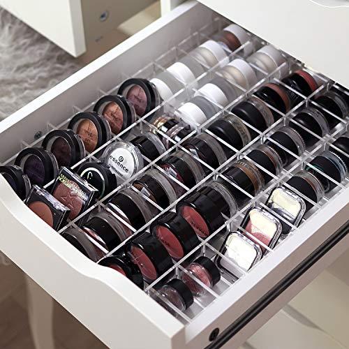 TidyUps DIVIDERS for EYESHADOWS | Trennstege-Set als Schubladeneinsatz für IKEA Alex 5 | Kosmetik Organizer für Eyeshadows aus Acryl (52cm)