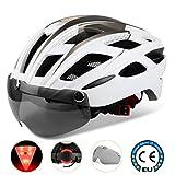 Casco bicicleta/Casco Bicic con luz,Certificado CE, casco bicicleta adulto con Visera Magnética Desmontable Gafas de Protección Super Light Casco Integral de Bicicleta Skateboarding Ski & Snowboard
