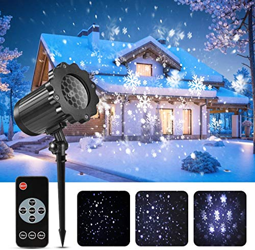 Led projektor weihnachten GreenClick LED Schneeflocke Projektor lichter Außen mit Timing Fernbedienung und Schneefall wasserdichter für outdoor und Innen Deko