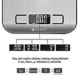 Etekcity Bilancia Cucina Digitale Inox 5kg/11lb, Bilancia da Cucina Alta Precisione Professionale, Modalità Peso Acqua Latte, Batterie Incluse, Argento by ETEKCITY