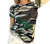 if she Damen Soft T-Shirt Army Militär Military Bundeswehr Look in Camouflage Tarnmuster Stretch, Größe:M/L, Farbe:Grün