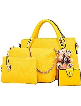 FiveloveTwo Damen 4Pcs Top Griff Satchel Hobo PU Leder Umhängetasche Handtasche Set große Tasche + Geldbörse +...