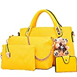 FiveloveTwo Damen 4Pcs Top Griff Satchel Hobo PU Leder Umhängetasche Handtasche Set Große Tasche + Geldbörse + Schultertasche + Kartenhalter gelb