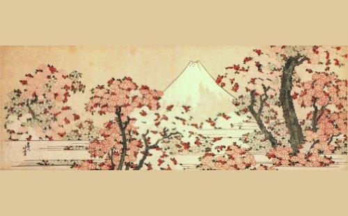 Mount Fuji con Cherry Trees In Bloom Katsushika Hokusai Riproduzione poster su su carta satinata, formato A3, 200g/mq