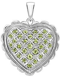 Carissima Gold Women's 18 ct White Gold Peridot Heart Pendant of 2.6 cm/1 inch