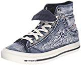 Diesel Exposure IV W Indigo White Womens Canvas Trainers Boots