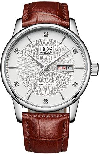 Angela Bos hombres de la analógica ciudadano mecánica movimiento reloj de pulsera banda de cuero blanco 9016