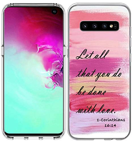 Schutzhülle für S10 / IWONE Designer Rubber Durable Protective Skin Transparent Cover Shockproof Compatible for Samsung Galaxy S10 Bibelverse for Girls Christian, Christian Pink