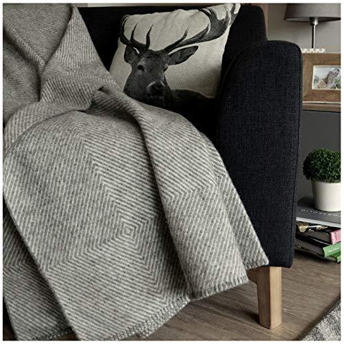Linen & Cotton Plaid, Couverture en Laine, Couvre-Lit de Luxe Iceland - 100% Laine (140 x 200cm) Gris