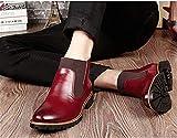 NEOKER Stiefelette Herren Chelsea Kurzschaft Stiefel Gefüttert Warm Business Leder Boot Western Elegant Winter Schuhe Schwarz Braun Rot 38-46 Rot 43