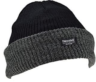 Thinsulate Mens Knitted Turn Up Thermal Winter Hat Black with (40g) Lining SKI HAT (B00PT3QO1M) | Amazon price tracker / tracking, Amazon price history charts, Amazon price watches, Amazon price drop alerts