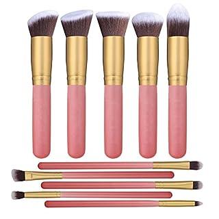 Ammiy®10PCS Professional Premium Kabuki Makeup Brush Set Foundation Blending Blush Eyeshadow Face Powder Brush Makeup Brush Kit Pink Golden Kit