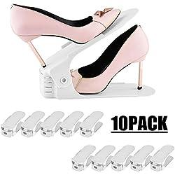 LITZEE Rangement Chaussure Réglable, Lot DE 10 Supports de Chaussures en Plastique avec 3 Niveaux de Hauteur Réglable, Economie d'Espace(Blanc)