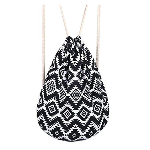 Amoyie Nylon Rucksack Turnbeutel Gymbag Sportbeutel Drawstring Bag Gymsack Hipster Fashion, Geometrisches Muster in Schwarz und Weiß (Nylon-drawstring-rucksack)