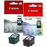 2x Original cartucho de tinta Canon PIXMA iP 2700, MP 240, 250, 260, 270, PG512, CL513–1x Negro, 1x Color