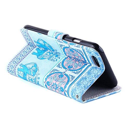 iPhone 5S Ledertasche - Felfy Schutzhülle für Apple iPhone 5S 5 Magnetband Muster Flip Ständer Bookstyle PU Leder Wallet Case Cover Etui Holster Handytasche + 1x Bling Rot Eule Anti Dust Plug + 1x Rot Blau Elefant Cas