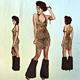 Costume sexy femme de Néandertal Déguisement dame de l'âge de pierre XS 34/36 Tenue de carnaval femme des cavernes Habits défilé préhistoire Habillement cromagnon aspect lion vêtements défilé troglodyte imprimé léopard