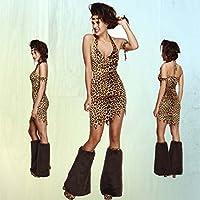 Sexy travestimento donna di Neanderthal Vestito era della pietra M 44/46 - Costume di carnevale ragazza delle caverne Abito festa in maschera uomo primitivo Outfit leopardato stile era della pietra Mascheramento maculato martedi grasso