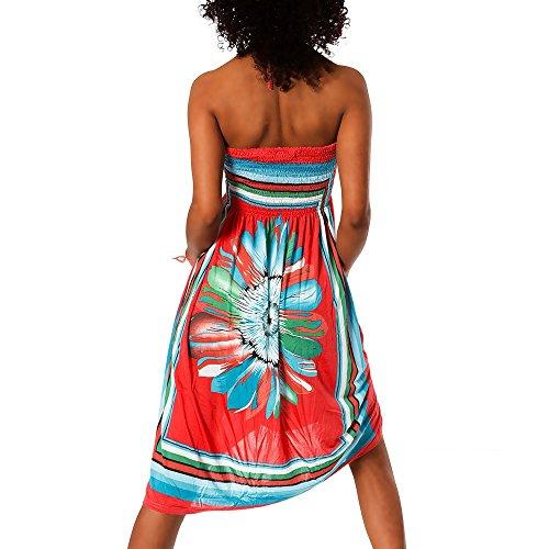 H112 Damen Sommer Aztec Bandeau Bunt Tuch Kleid Tuchkleid Strandkleid Neckholder F-027 Rot