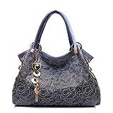 Realer Damen Handtaschen Aushöhlen Blume Tote bag Hobo Taschen mit Reißverschluss