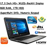 2017 Newest Edition HP 17.3 Inch HD+ (1600x900) SVA BrightView Premium High Performance WLED-Backlit Laptop, Intel Core I3-6100U 2.3GHz, 8GB RAM, 1TB HDD, Win10