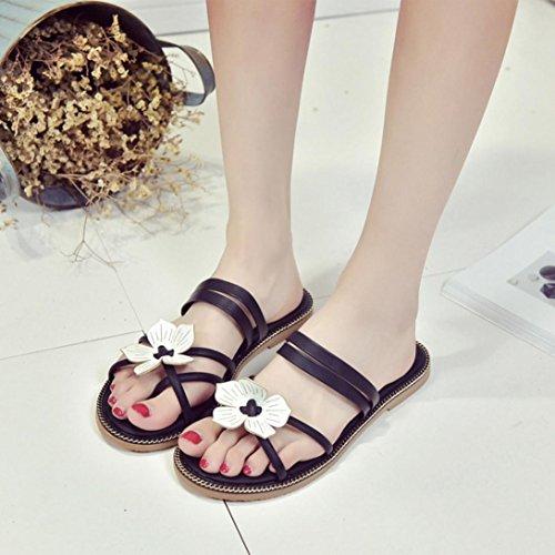Transer ® Fashion femmes Bohême fleur sandales tongs plage décontractée Slipper Noir
