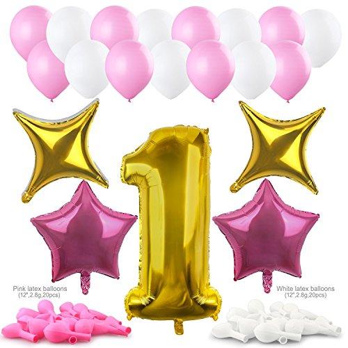 Konsait 40Inch número 1 Foil Globos Gigantes y globos en forma de estrella (4pcs) rosa Blanco de Látex Globos (40pcs) Accesorio para fiestas de Boda cumpleaños 1 año niña decoracion