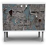 banjado - Badunterschrank 60x55x35cm Design Waschbeckenunterschrank mit Motiv Wand mit Zeitungen