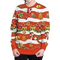 HWTOP Sweatshirts Hoodies Damen Oberteil Hemd T-Shirt Pullover Locker Sport Freizeit Premium Kleidung Weihnachten Dekorieren 3D Langarmshirt Bluse mit Taschen Frauen Pulli Tops