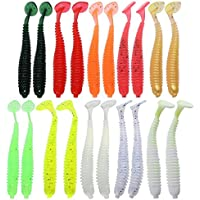 Trendyest 20 Señuelos de Pesca de Gusano de PVC Suave de 2 g/7,5 cm, 10 Colores