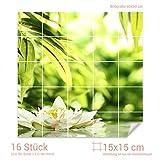 Graz Design 765356_15x15_60 Fliesenaufkleber See - Teich - Blume für Kacheln | Wand-Deko für Bad/Küchen-Fliesen (Fliesenmaß: 15x15cm (BxH)//Bild: 60x60cm (BxH))