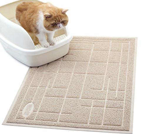 Vivaglory Vorleger für Katzentoiletten, Ungiftige Groß (90 * 60 cm) Robuste Katzenklo Matte, Wasserfest und Rutschfest, Weich auf Pfoten, Leicht zu Reinigen, Moderner Streifen, Beige