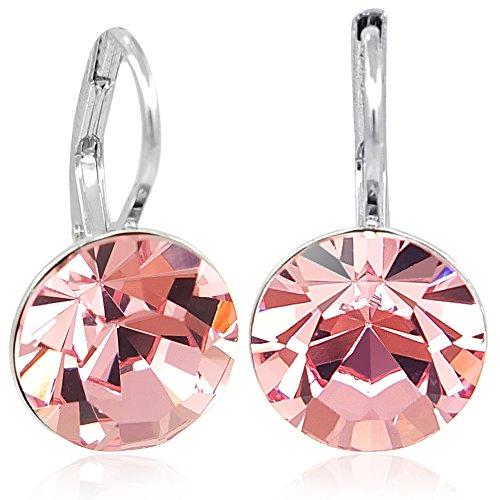 Ohrringe mit Kristalle von Swarovski® Silber Rosa NOBEL SCHMUCK