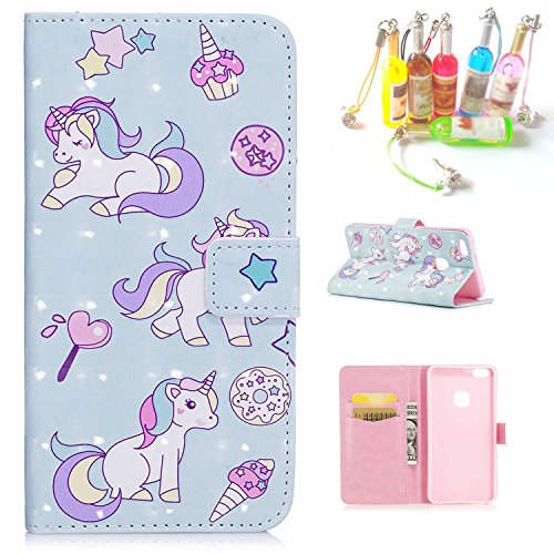 Per iPhone 6S Custodia, CaseMa-EU Portafoglio borsa in Pelle PU Caso Flip Case Cover per Apple iPhone 6 6S 4.7 inch (Fenicotteri XS) con un Colore Casuale Spina Polvere Cavallo blu XS