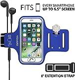 VGUARD Fascia da Braccio Sportiva Universale 6.5' Resistente Sweatproof Fascia per Corsa&Esercizi con Cinturino Fascia da Braccio per Smartphone, Huawei P20, iPhone 11 Pro/11/X, Samsung S9(Blu Scuro)