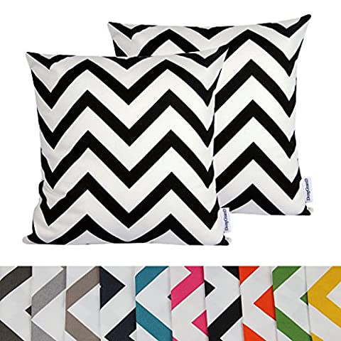 Comoco® 2pc-Pattern Decorative Geometric Thick Canvas Pillowcase Cushion Cover for Sofa Throw Pillow Case(40x40cm,Black)