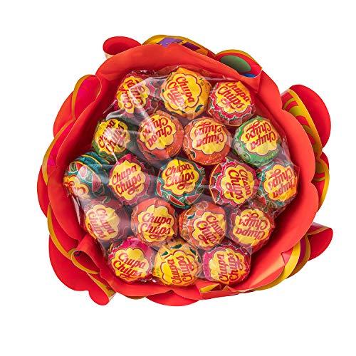 Blumenstrauss, Geschenk-Idee: Geburtstag + Jahrestag + Valentinstag, 6 fruchtige Lolli-Sorten ()