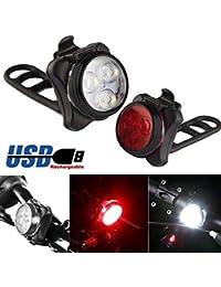 About1988 LED Fahrradlicht Set, USB Wiederaufladbare Fahrradleuchte, Fahrradlampe Fahrradlicht, Aufladbare Fahrradlichter mit 4 blinkenden Modi, 1 USB-Kabel (Weiß)